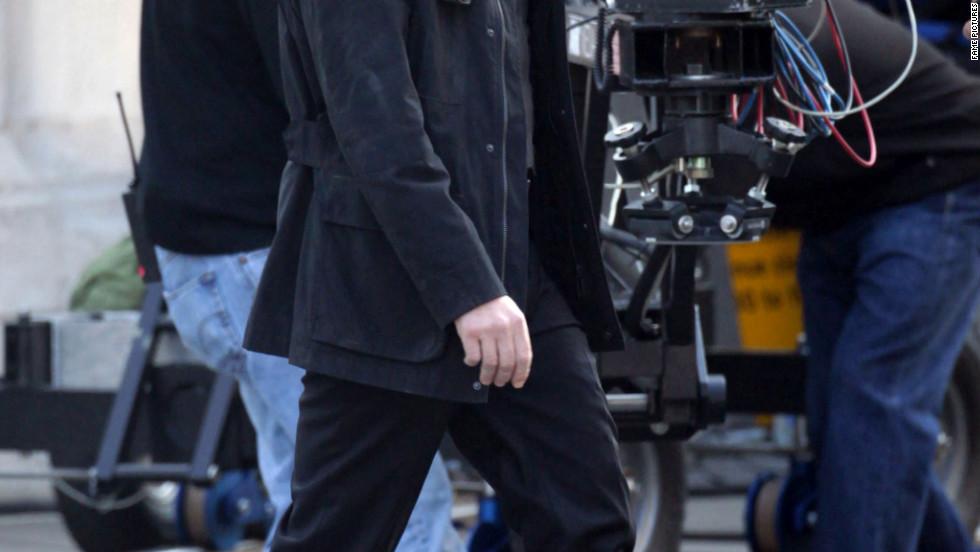 "Javier Bardem films a scene for ""Skyfall"" in London."