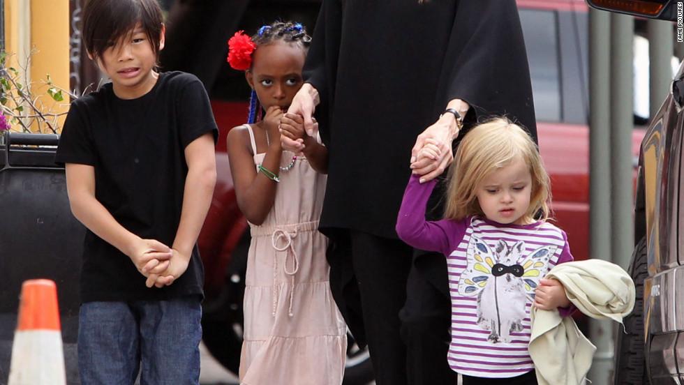 Angelina Jolie roams around New Orleans with her children.