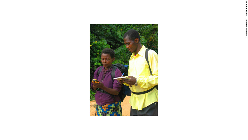 Marie Atosha and Jean Amisi -- community mappers in Inongo, DRC.