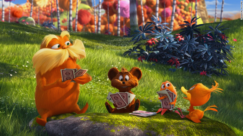 The bright orange Lorax with his enormous moustache speaks for the trees, as he often announces throughout the movie.