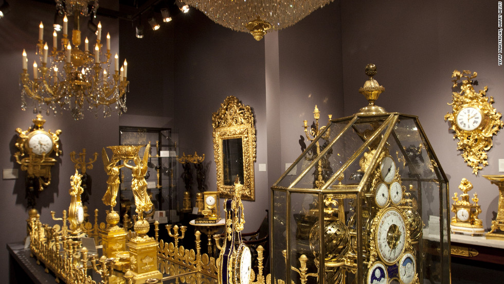 The fair is a showcase not just for paintings and sculpture but also valuable decorative objects such as these timepieces.