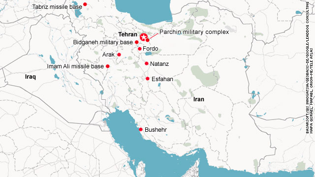 Possible targets of an Israeli air strike in Iran.