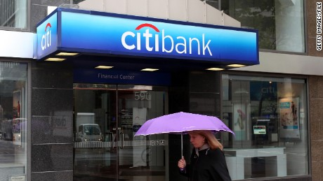 SAN FRANCISCO, CA - APRIL 18: A pedestrian walks by a CitiBank branch office on April 18, 2011 in San Francisco, California. Citigroup's first-quarter profit dropped 32 percent with quarterly earnings of $3.0 billion, or 10 cents per share, compared to $4.4 billion, or 15 cents per share one year ago. (Photo by Justin Sullivan/Getty Images)