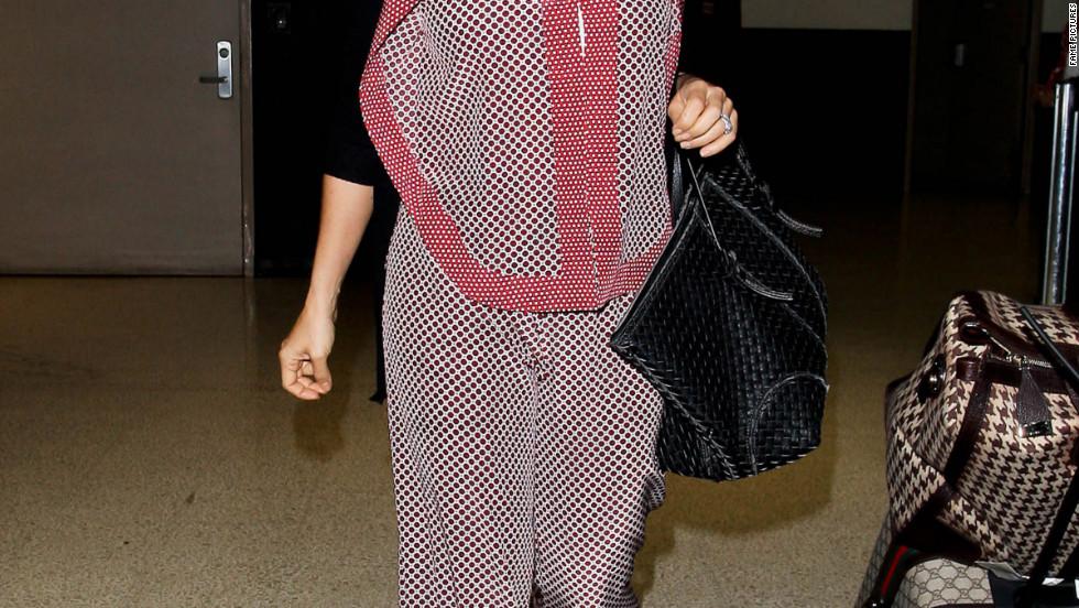 Salma Hayek arrives in Los Angeles.