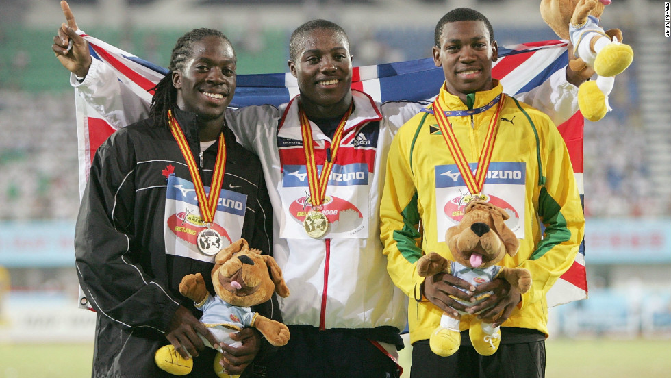 Blake (R) set a Jamaican national junior record of 10.11 seconds at the Carifta Games -- a competition for Caribbean juniors -- in 2007. He also claimed a bronze medal at the 2006 World Junior Championships in Beijing, China.