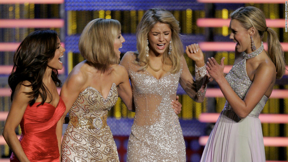 Miss Michigan Kirsten Haglund reacts as she is named Miss America 2008 in Las Vegas, Nevada, on January 26.