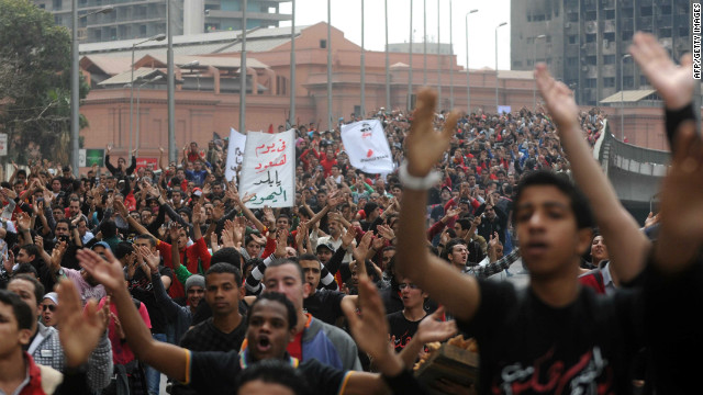 Egyptian football supporters march in Cairo on March 15, 2012 demanding justice for those killed in stadium violence last month.