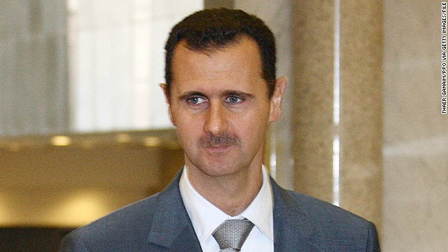 Syrian President Bashar al-Assad is shown in Damascus in a file photo. He congratulated Syrian workers Wednesday.
