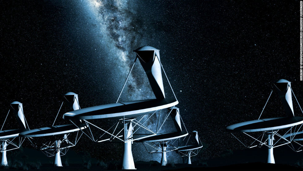 Radio telescopes explore the universe by radio-frequency radiation.