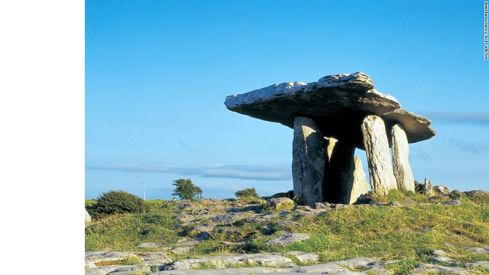 The Poulnabrone Dolmen is a portal tomb in the Burren, part of County Clare, dating back to the Neolithic period.