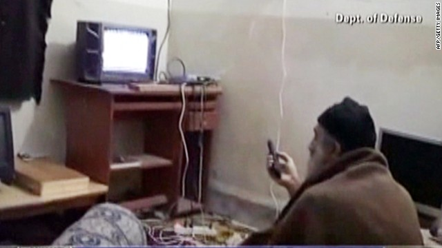 This undated frame grab reportedly shows Osama bin Laden watching television at his compound in Abbottabad, Pakistan.