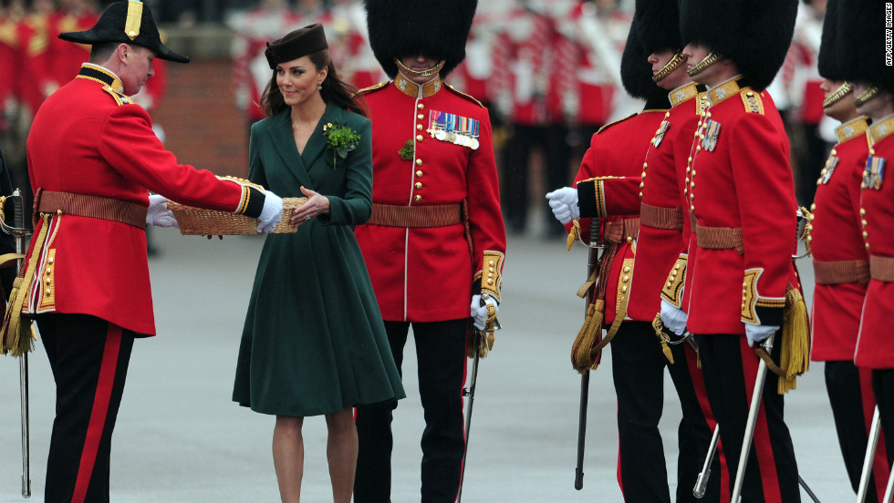 In England, Catherine, Duchess of Cambridge, presents shamrock springs to Irish Guards on Saturday. Legend says Christian missionary St. Patrick used the shamrock to explain the concept of the Holy Trinity to the Irish.
