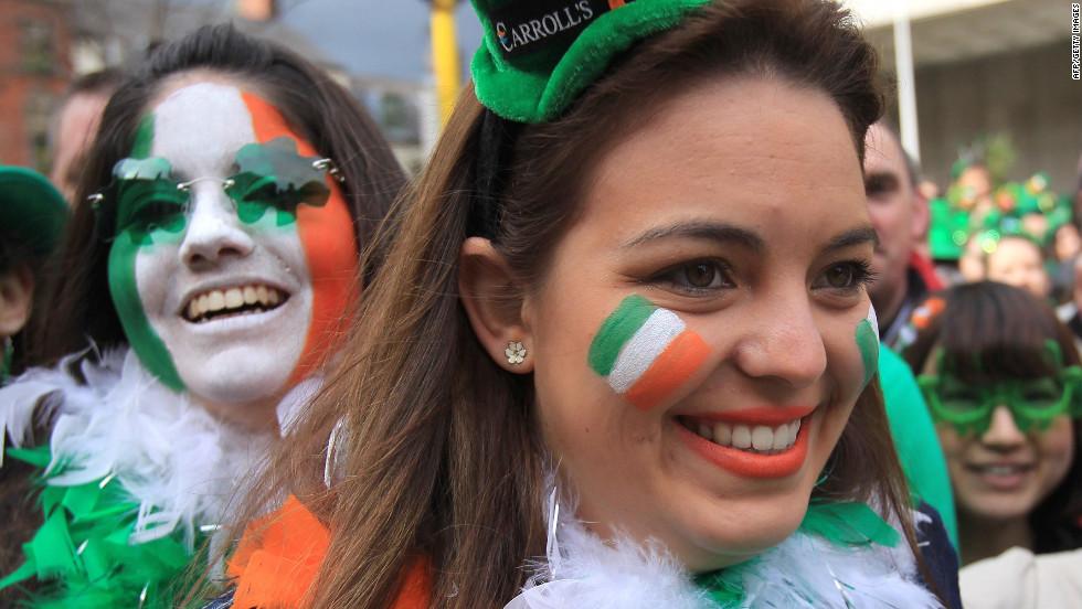 Two women enjoy the St. Partick's Day festivities in Dublin.