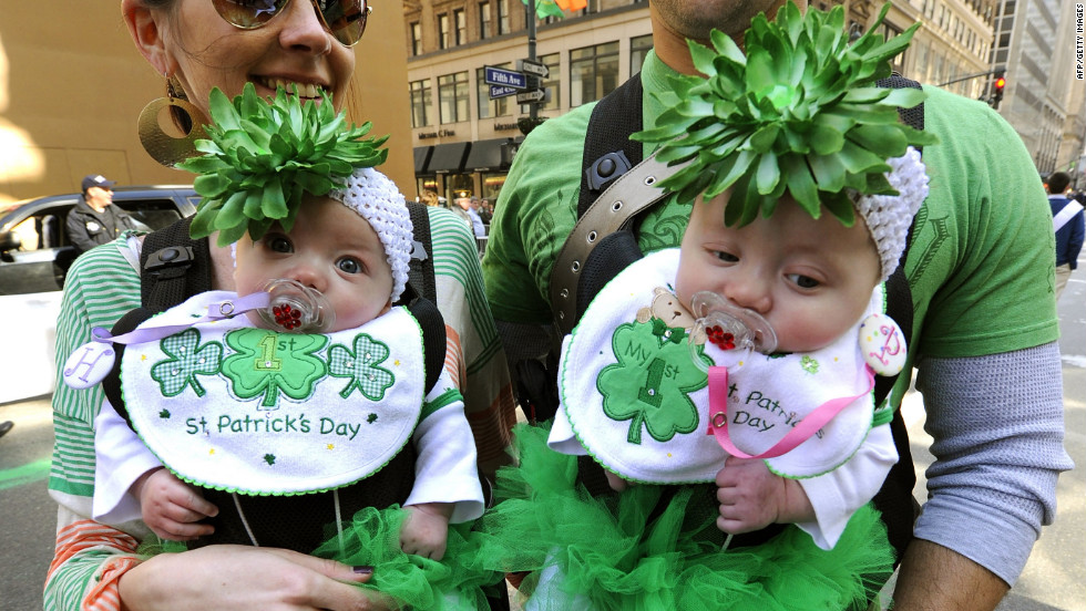 Young parade-goers Harley and Presley Eidens celebrate their first St. Patrick's Day in New York City.