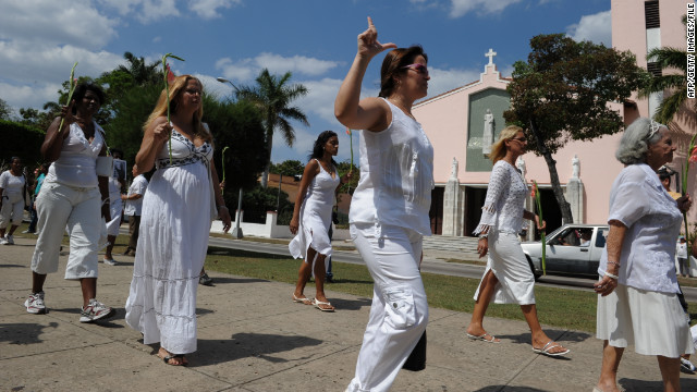 "Members of the ""Ladies in White"" march every Sunday to protest against the Cuban government."