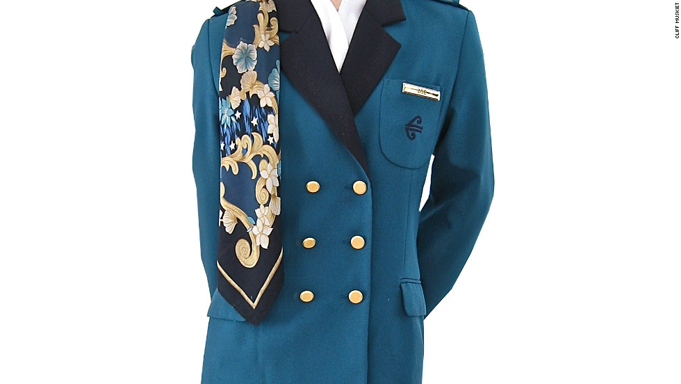 Muskiet has been collecting uniforms for over 30 years. His first uniform was given to him as a child by his mother's friend, who was a stewardess. This piece is an old Air New Zealand uniform.
