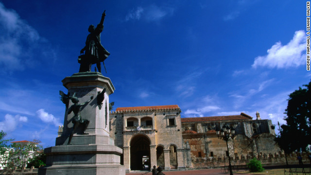 A bronze statue of Christopher Columbus points the way to the New World in Santo Domingo, Dominican Republic.