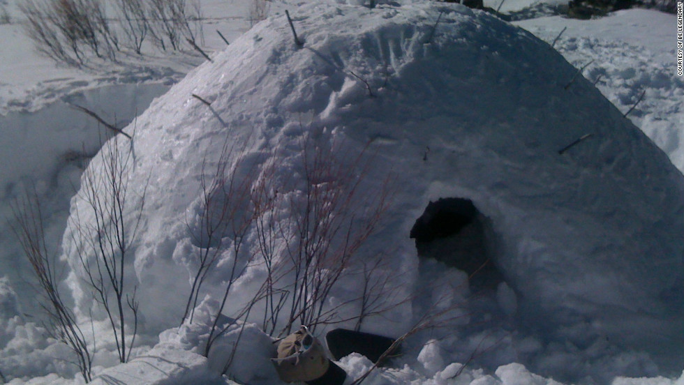 "A ""quinzhee"" snow shelter prepared by a corporate participant on a ""Deep Snow Survival"" retreat in the San Juan range in the Rocky Mountains."