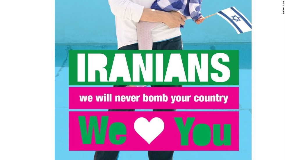 Israeli graphic designer Ronny Edry has created posters with messages of peace for the people of Iran and posted them on Facebook.