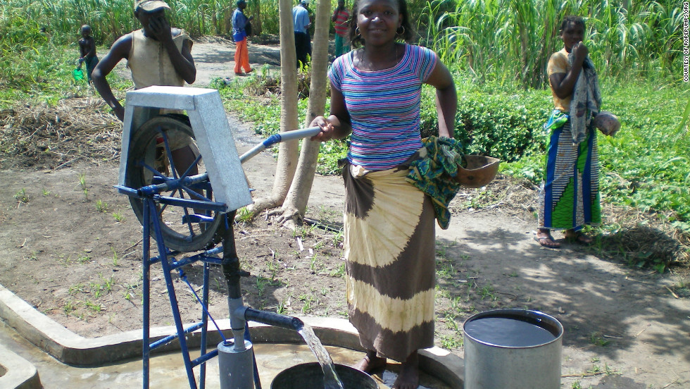Rope pumps are a cheap and effective solution to water supply in remote rural areas. A rope pump model created by Henk Holtslag of Connect International.