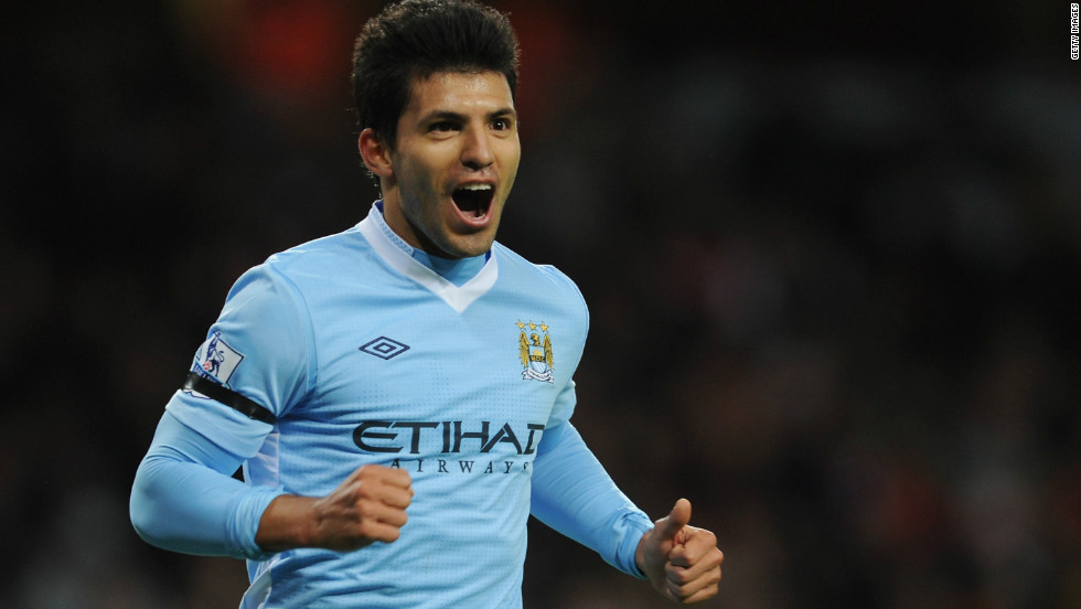 Argentina striker Serguio Aguero is one of two Manchester City players in the top 10 after joining the Abu Dhabi-owned English Premier League club from Atletico Madrid for a reported $62 million in July 2011.