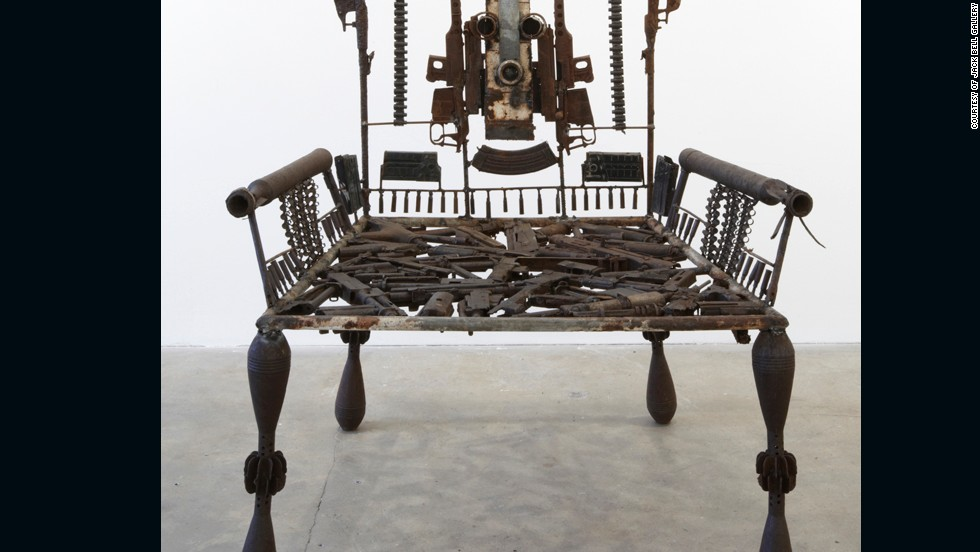 "Mabunda, who has exhibited in Paris, Tokyo and Dusseldorf, is best known for his chairs, or ""thrones,"" representing power."