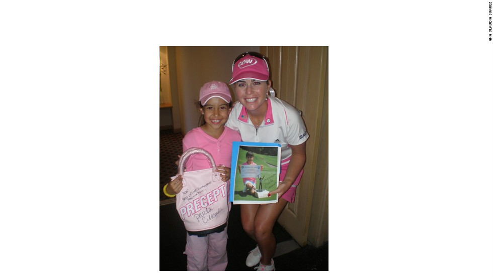 Creamer poses for a photo with one of her biggest fans, 11-year-old Ana Claudia Rodriguez.