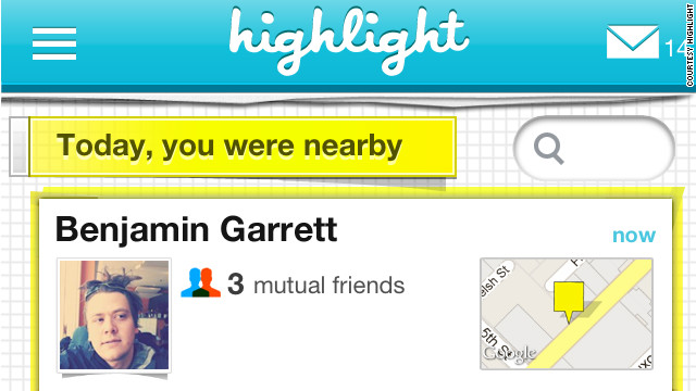 The Highlight iPhone app alerts you when people with mutual friends or shared interests are nearby.