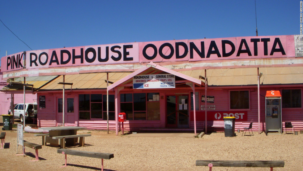 The Pink Roadhouse is northeast of Coober Pedy along the Oodnadatta Track. The roadhouse offers hot meals, groceries, food and automotive services.
