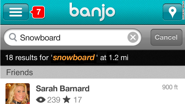 Banjo lets users see tweets and other social media posts from people who are nearby.