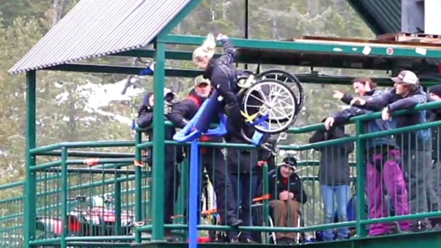 Woman takes bungee jump in wheelchair