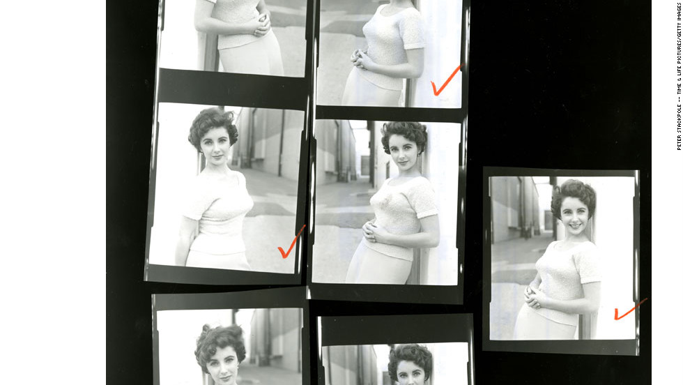 "Shown here is a close-up of a contact sheet with pictures of Taylor on the set of ""A Place in the Sun."" <a href=""http://life.time.com/culture/elizabeth-taylor-and-montgomery-clift-unpublished-photos/#1"" target=""_blank"">View more unpublished images of Elizabeth Taylor at Life.com.</a>"