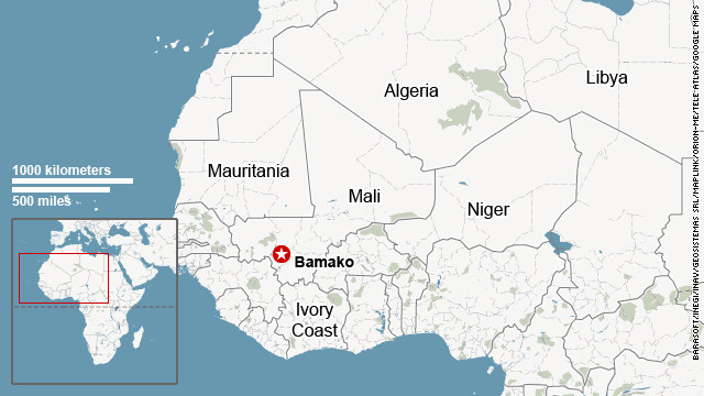 Map shows location of Mali
