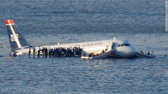The successful emergency landing in 2009 in the Hudson River of US Airways Flight 1549.