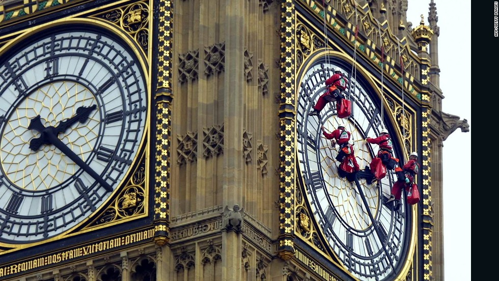 """Big Ben"" is one of London's most famous landmarks. The four glass clock faces on the tower, each measuring seven meters in diameter, are cleaned by a team of experts once every five years."