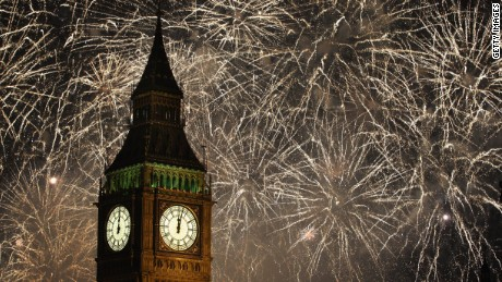Fireworks light up the London skyline and Big Ben just after midnight on January 1, 2012.