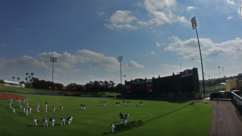 The Atlanta Braves stretch during a 2011 spring training workout at Champion Stadium, which is part of Disney World's ESPN Wide World of Sports Complex in Lake Buena Vista, Florida.