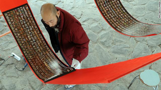 Artist Mo Yi in a Beijing studio.