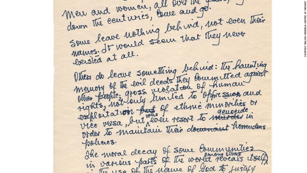"The handwritten first page of Mandela's unpublished sequel to his autobiography, ""Long Walk to Freedom."""