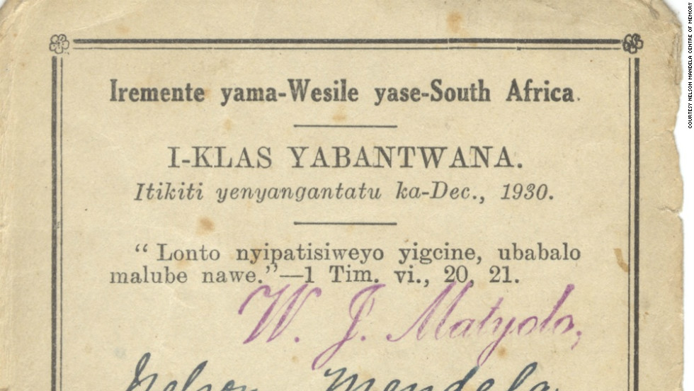 The earliest known record of Mandela -- a Methodist church membership card bearing the date December 1930.