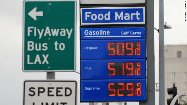 Prices posted at a gas station in downtown Los Angeles, California, on March 16, 2012.