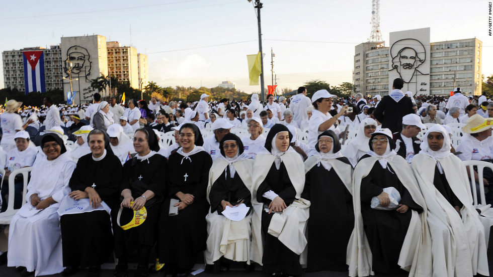 Nuns wait for the arrival of  the pope at Revolution Square.