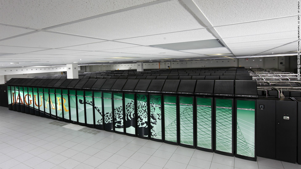 The Cray Jaguar supercomputer can perform more than a million billion operations per second. It takes up more than 5,000 square feet at Oak Ridge National Laboratory in the United States. In 2009 it became the fastest computer in the world.