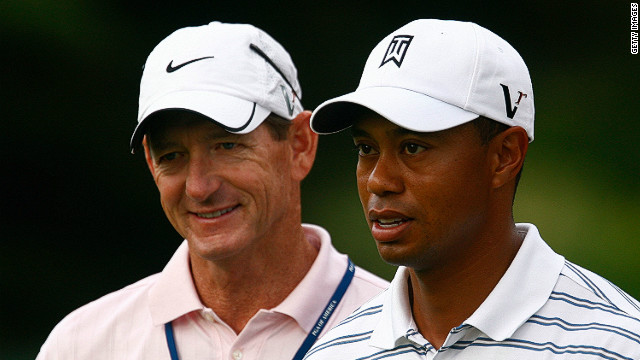 Tiger Woods and former swing coach Hank Haney at the PGA Championship at Hazeltine Golf Club in August 2009.