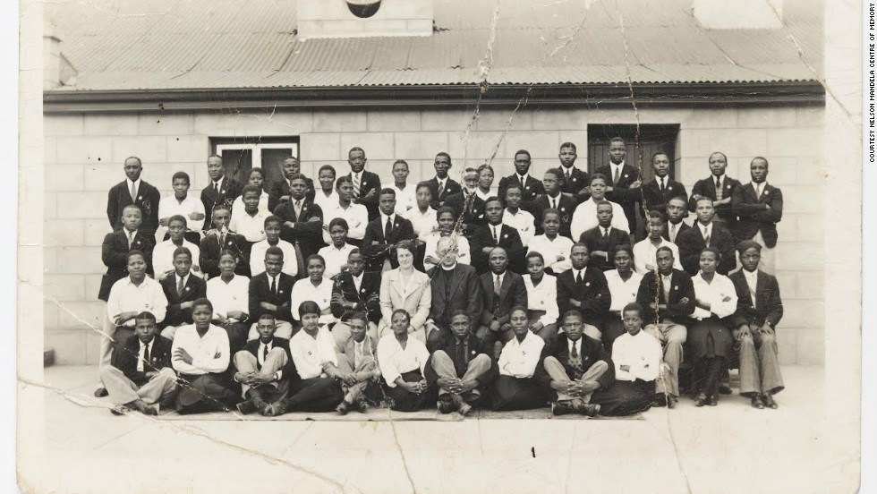 The earliest known photograph of Mandela, believed to be taken in 1938. The future president is fifth from the right in the back row.