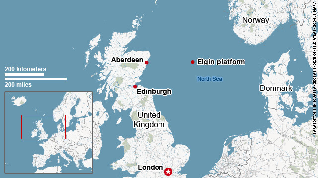 Map showing location of Elgin platform
