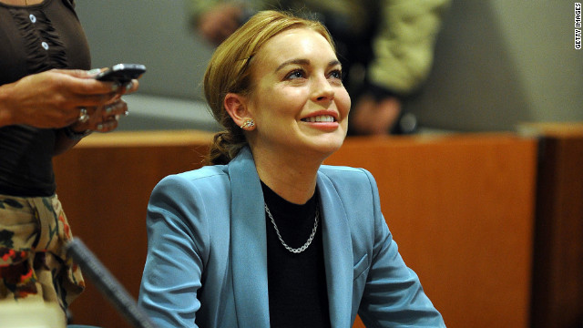 Lindsay Lohan attends her probation hearing with attorney at the Airport Courthouse on March 29 in Los Angeles.