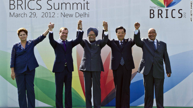 Heads of the BRICS countries pose prior to the BRICS summit in New Delhi on March 29.