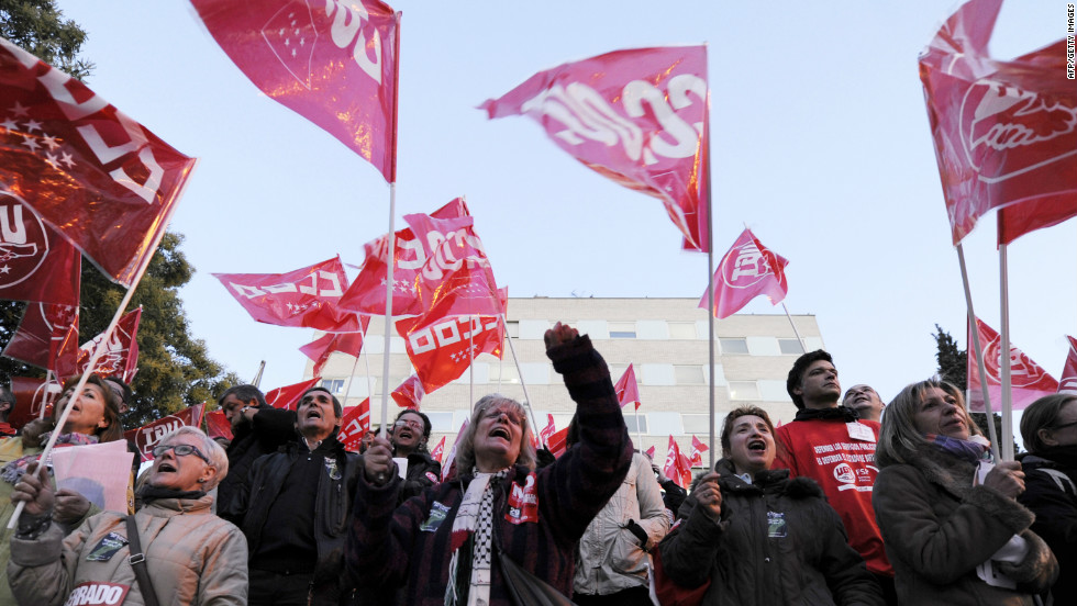 People demonstrate in Madrid on Thursday during a national strike to protest the labour reforms.