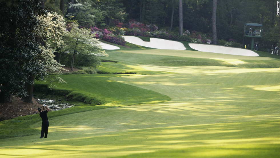 """The final hole of """"Amen Corner"""" has seen many a round hit the buffers, none more so than Japan's Tommy Nakajima -- who experienced the ignominy of penciling 13 onto his scorecard after attempting to play his ball out of Raes Creek in 1978."""